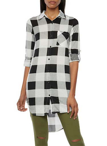 Plaid Tunic Top with High Low Hem,BLACK/WHITE,large