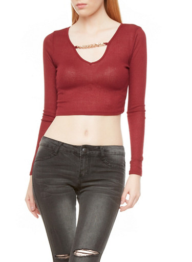 Ribbed Long Sleeve Crop Top With Chained V-Neck,BURGUNDY,large