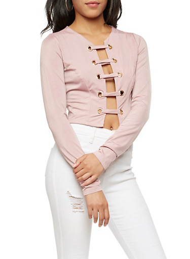 Long Sleeve Caged Front Top,MAUVE,large