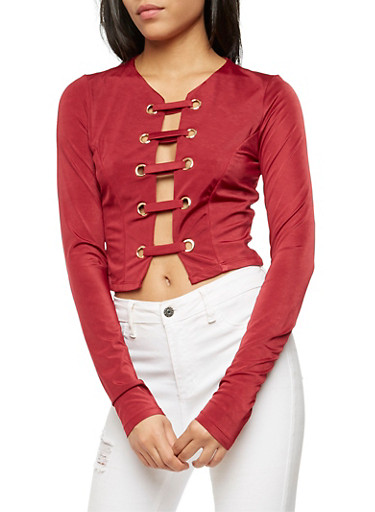 Long Sleeve Caged Front Top,BURGUNDY,large