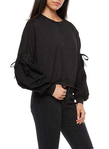 Ruched Tie Sleeves Sweatshirt,BLACK,large