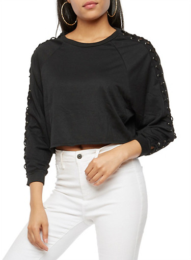 Lace Up Long Sleeve Cropped Top,BLACK,large