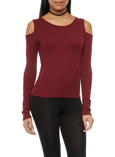 Cold Shoulder Top with Long Sleeves,BURGUNDY,large