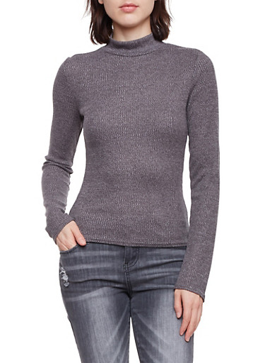 Mock Neck Sweater in Ribbed Knit,CHARCOAL,large