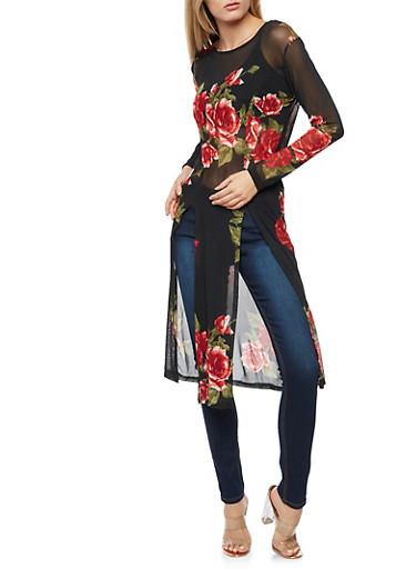 Floral High Slit Mesh Maxi Top,BLACK,large
