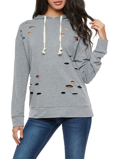 Long Sleeve Hooded Laser Cut Sweatshirt,HEATHER,large