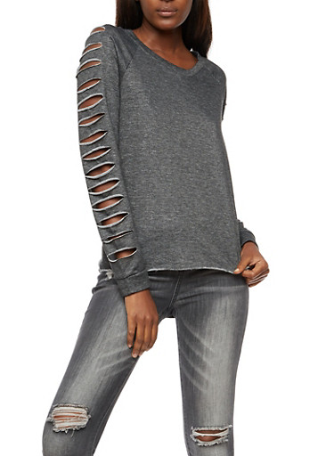 Laser Cut Long Sleeve Top,CHARCOAL,large