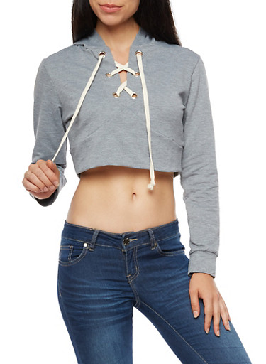 Lace Up Cropped Hoodie,HEATHER,large