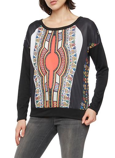 Long Sleeve Dashiki Print Top,BLACK,large