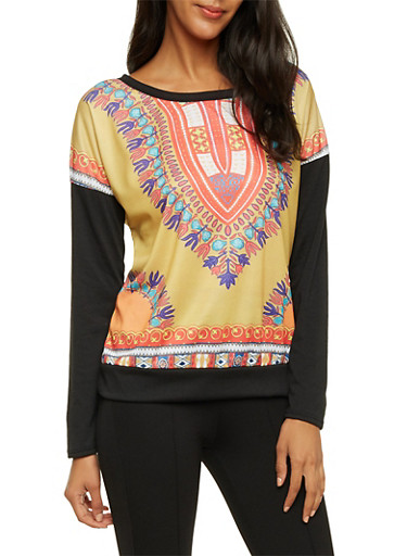 Long Sleeve Top in Dashiki Print,BLK/FUSC/LIME,large