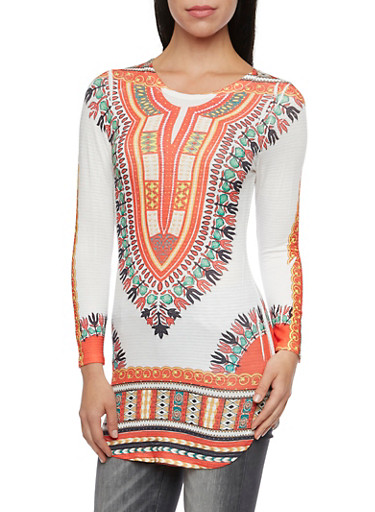 Tunic Top in Dashiki Print with Long Sleeves,RUST/GREEN,large