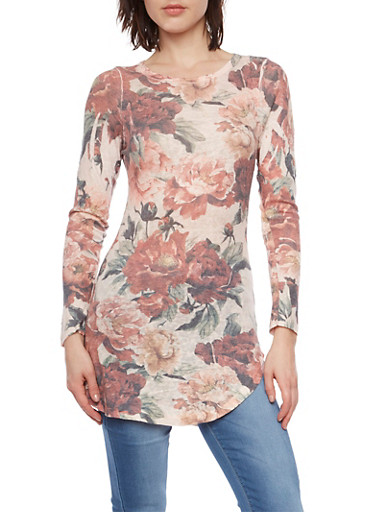 Floral Print Tunic Top,PEACH,large