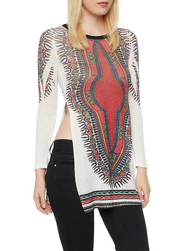 Tunic Top in Dashiki Print with High Side Slits,MULTI COLOR,large