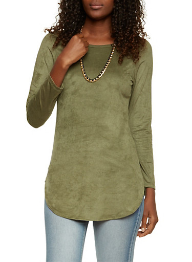 Sueded Tunic Top with Necklace,OLIVE,large