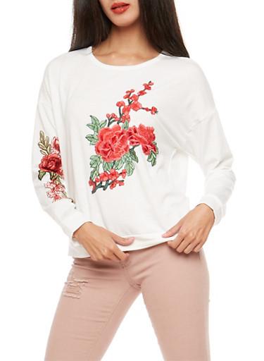 Floral Applique Sweatshirt,WHITE,large