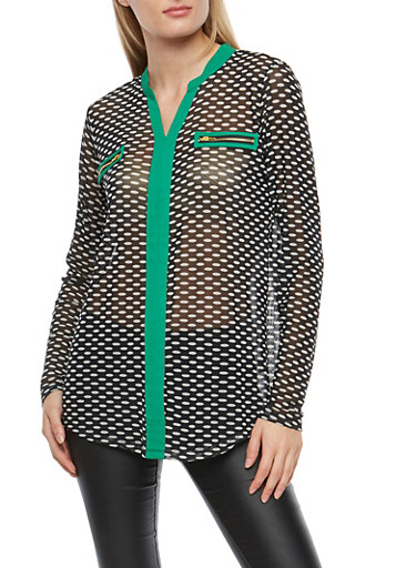 Dotted Mesh Long Sleeve Top,BLK/WHT/KELLY,large