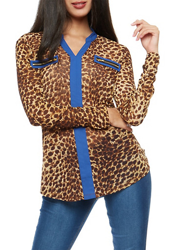 Leopard Print Shirt with Contrast Trim,RYL BLUE,large