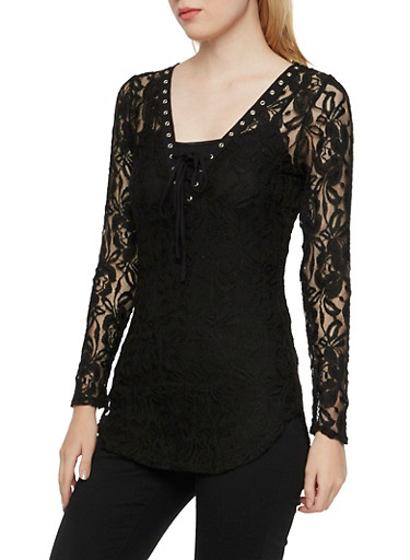 Long Sleeve Lace Tunic Top with Lace-Up Neckline,BLACK,large
