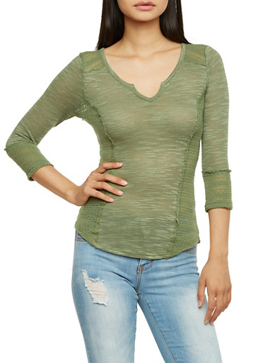 Open Knit 3/4 Sleeve Top,OLIVE,large