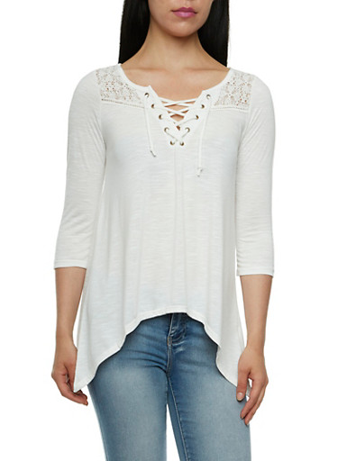Jersey Top with Crochet Paneling and Lace-Up Scoop Neck,CREAM,large