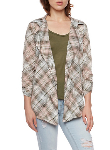 Lace Tank Top and Plaid Cardigan with Open Front,OLIVE/BLUSH,large