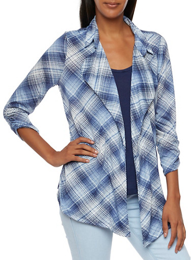 Lace Tank Top and Plaid Cardigan with Open Front,NAVY/WHITE,large