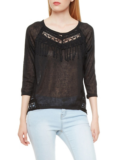Burnout Top with Lace Insets,BLACK,large