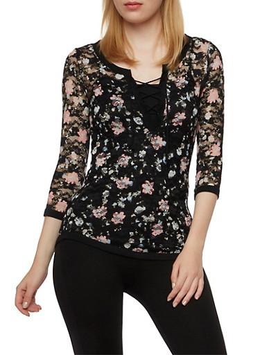 Floral Print Lace Top,BLACK,large