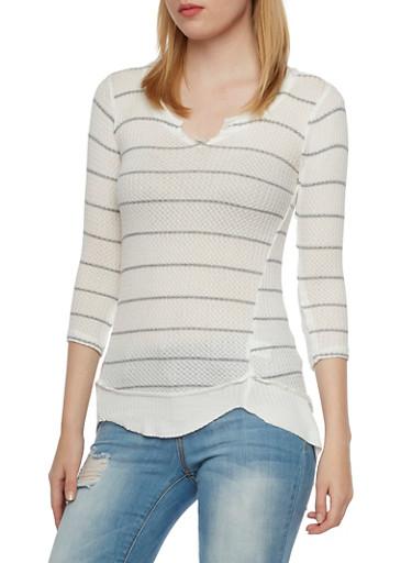 Waffle Knit Sweater,GRAY/CREAM,large