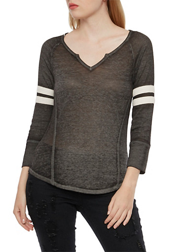 Knit Top with Striped Waffle-Knit Sleeves,BLACK,large