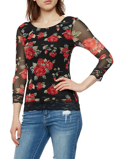 Rose Mesh Top with Lace Trim,BLACK,large