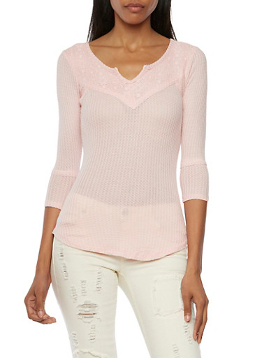 3/4 Sleeve Top with Lace Trim,BLUSH,large