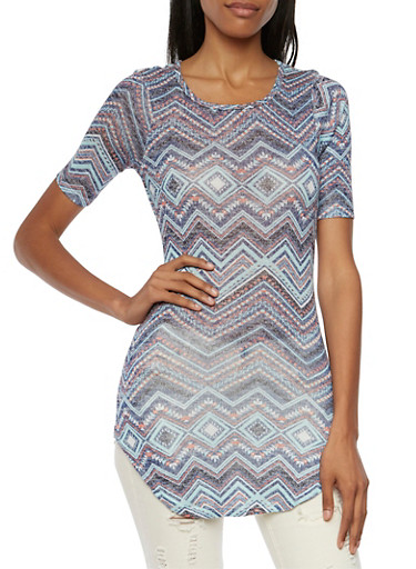 Almost Famous Tunic Top in Aztec Print,NAVY MULTI,large