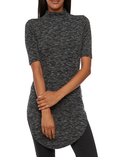 Almost Famous Tunic Top in Ribbed Knit,BLACK,large
