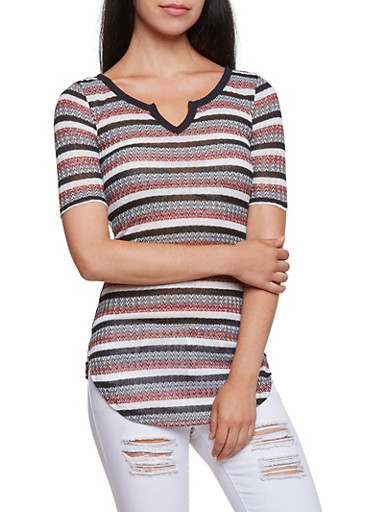 Almost Famous Striped Tunic Top with Notched Collar,CORAL,large