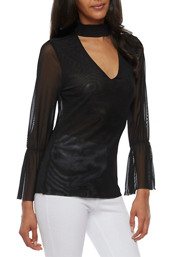 Mesh Top with Bell Sleeves,BLACK,large