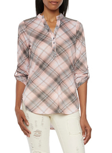 Almost Famous Plaid Top with Crochet Back,BLUSH/GREY,large