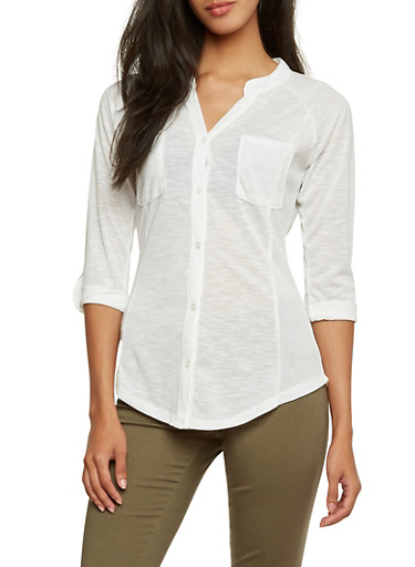 Almost Famous Button Up Top with Pockets,WHITE,large