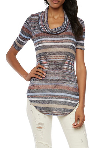 Almost Famous Striped Knit Top with Cowl Neck,NAVY MULTI,large