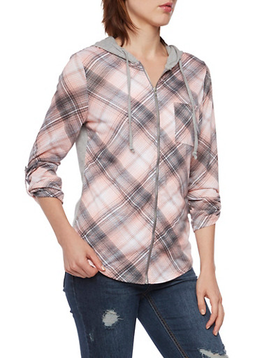Plaid Hooded Top with Zip Front,BLUSH/GREY,large
