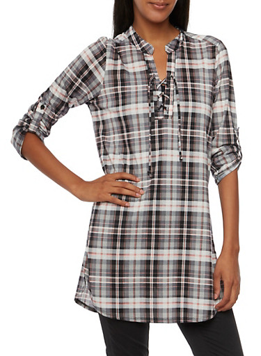 Almost Famous Plaid Tunic Top with Lace Up Neckline,BLK/NEON CORAL,large