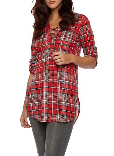 Almost Famous Plaid Tunic Top with Lace Up Neckline,RED/BLK,large