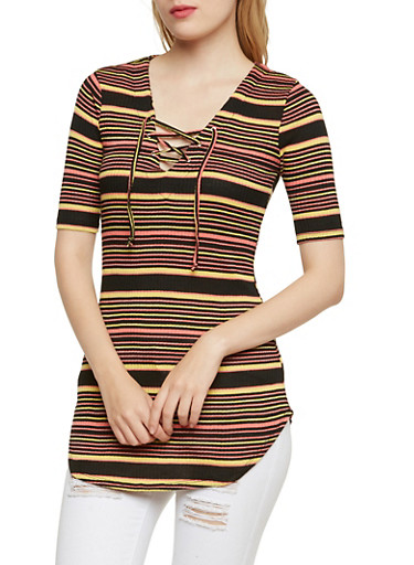 Almost Famous Striped Tunic Top with Lace Up V Neck,PINK/BLK,large
