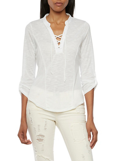 Almost Famous Lace Up Top with Knit Panels,WHITE,large
