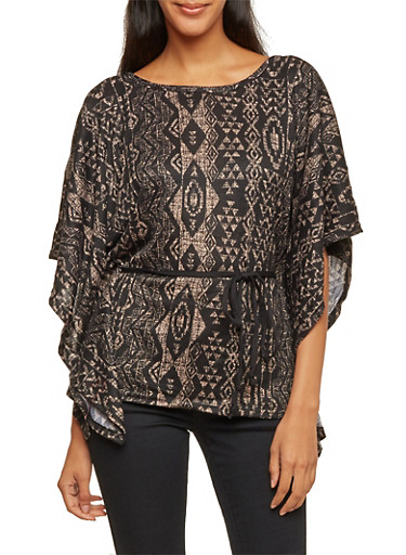 Printed Kimono Top with Tie Waist,BLK MARLED,large