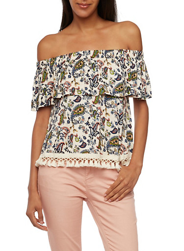 Off The Shoulder Top in Paisley Print,IVORY/DENIM,large