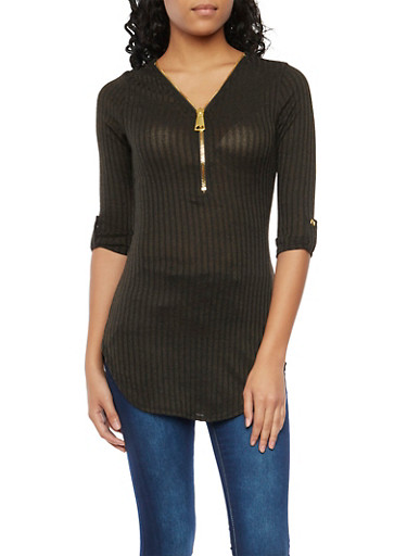 Ribbed Top with Zipper V Neck and Tab Sleeves,CHARCOAL,large