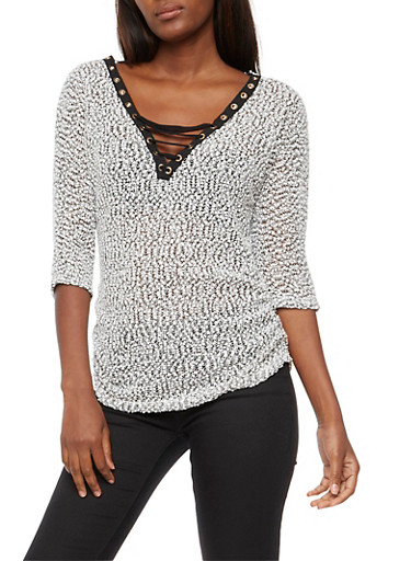 Textured Knit Lace Up Top,BLACK,large