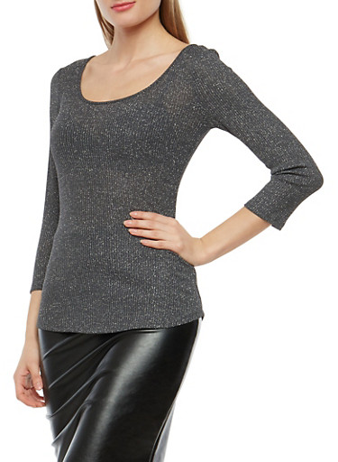 Glitter Knit Caged Back Sweater,CHARCOA SILVER,large