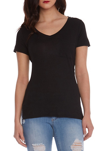 Tunic Top with High-Low Hem,BLACK,large